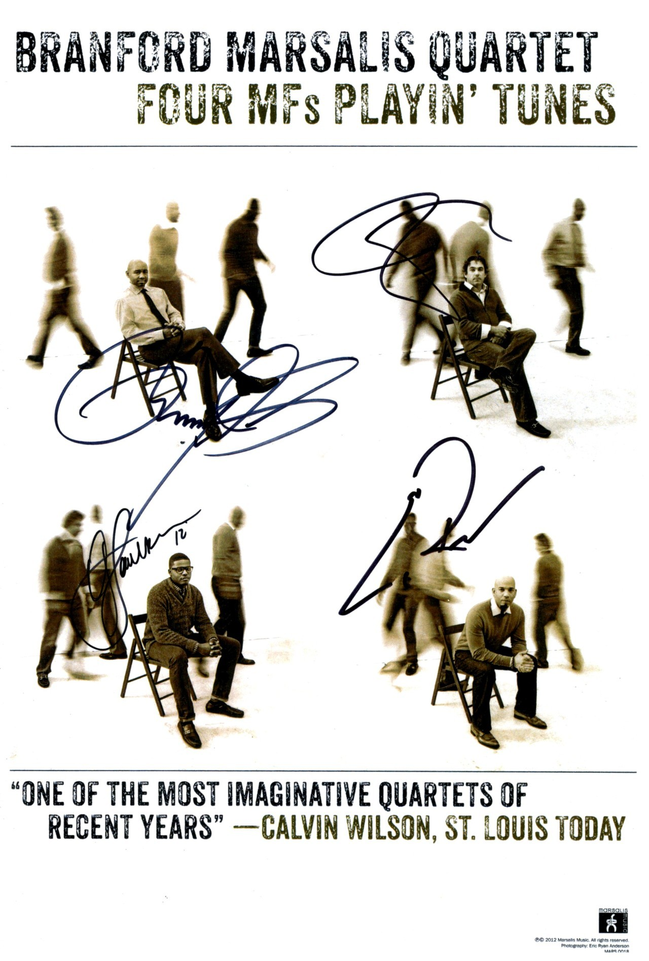 Autographed tour poster from the entire Branford Marsalis Quartet, my prize for winning the Marsalis Music Record Store Day contest… can't tell you how excited I was when this came in the mail! Love the design of the poster — the album's cover is the panel with Branford in the chair, with the other panels featured inside the double-album… here's a video I did on the album and my Record Store Day experience: