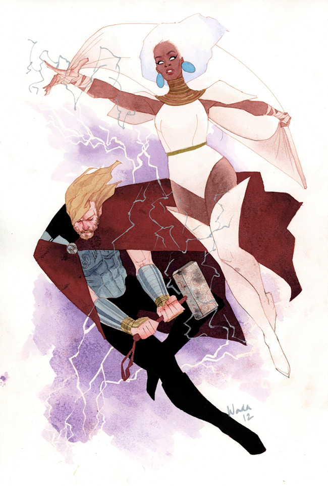 kevinwada:  Thor and Storm by Kevin Wada