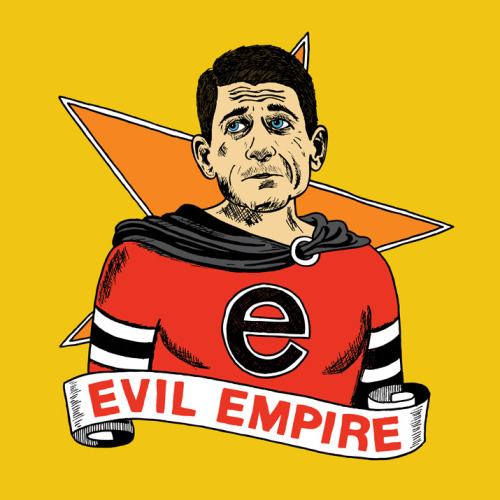"chrispiascik:  (via Ryan's Evil Empire - Chris Piascik) Paul Ryan has cited Rage Against the Machine as one of his favorite bands… and that is crazy. RATM's guitarist Tom Morello responded to this exactly as I would have expected: ""Paul Ryan is the embodiment of the machine our music rages against."" Rest assured I listened to Evil Empire while drawing this. Prints & more available at Society6! / Daily Drawing #1171.  Gold."