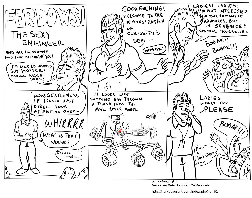 Ferdowsi (@tweetsoutloud) the sexy engineer. Based on @beatonna Tesla's comic <3
