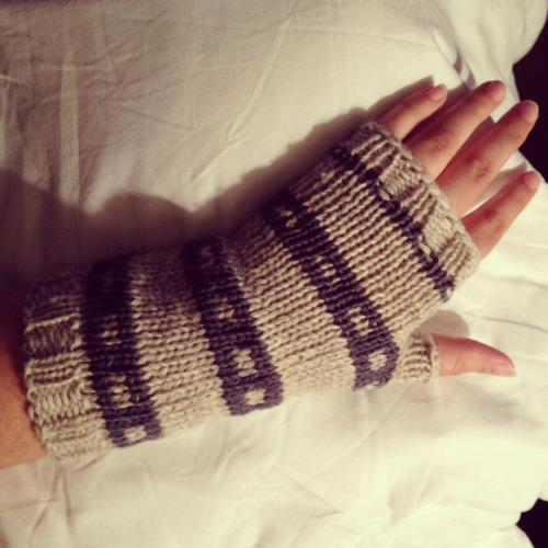 Fingerless gloves knit by Christina Caruso using wool and wool/ cotton yarns. My first one!