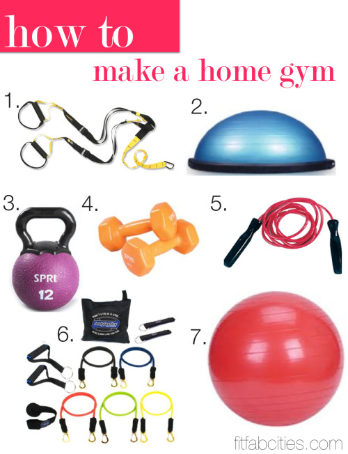 "iyfit:  52lbstofit:  ""How to Make a Home Gym"" LOVED this article! Slowly wanting to invest in these key pieces.  I really need some good resistance bands! Too bad I can't find them anywhere.   Love this half way to owing all that"