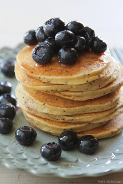 Gluten free lemon and poppy seed pancakes with blueberries