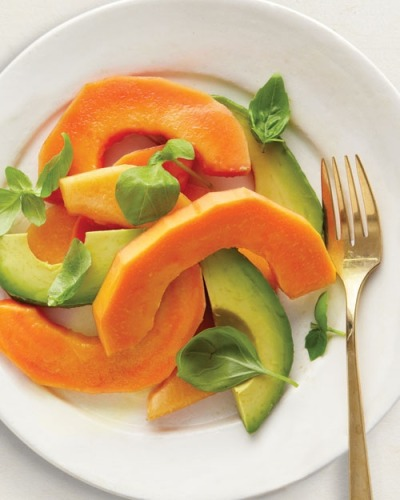 Papaya, avocado and basil tropical salad, great idea!