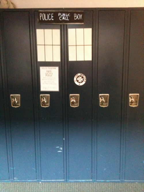 Handy when you get stuffed into the lockers at school… TARDIS School Lockers! #DoctorWho It's not the first TARDIS themed school lockers I have seen, but it may be the best I've seen so far. (via TARDIS School Lockers [pic] | Global Geek News)