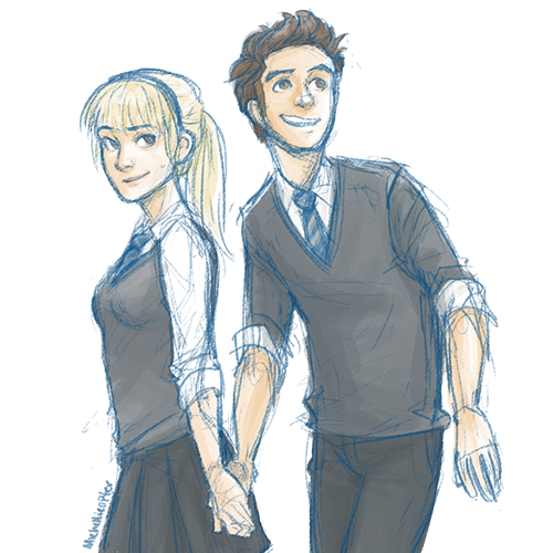 michellicopter:  Anonymous asked: Could you please draw a hogwarts Peter Parker and Gwen Stacy! Pretty please.