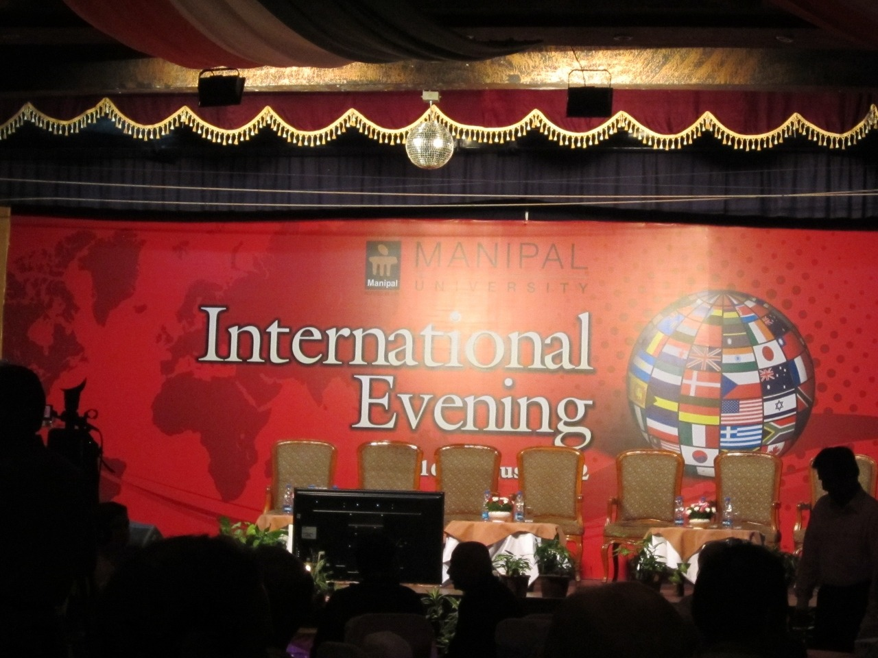 International Evening. Roughly 200 students from other countries come to study at MU. Can't believe that I am one of the 9 American students to come here.