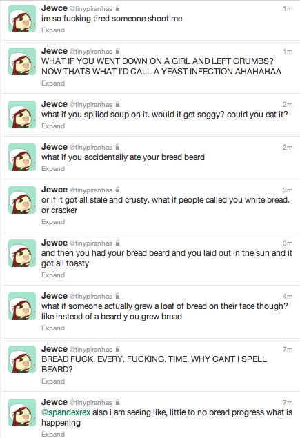 this is why nobody should ever follow my twitter (read bottom to top)