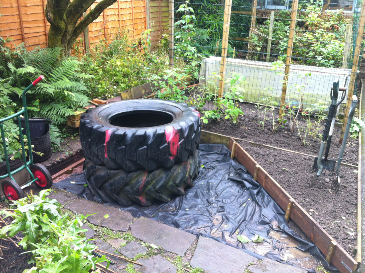 Earth oven continued. Tyres in place, gravel and aggregate being delivered this afternoon. Apologies for poor quality of photos of late but the weather is shocking.