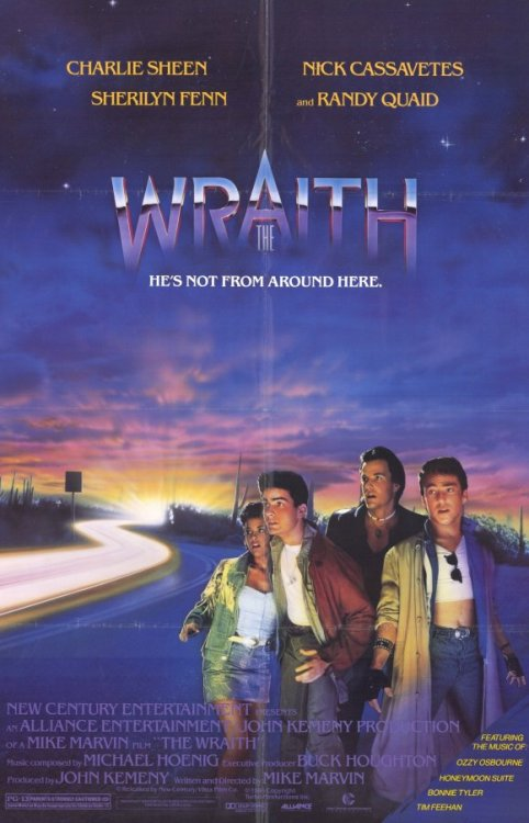 The Wraith (1986)  Packard Walsh and his motorized gang control and terrorize an Arizona desert town where they force drivers to drag-race so they can 'win' their vehicles. After Walsh stabs the decent teenager Jamie Hankins to death for being intimate with a girl whom Walsh wants for himself, the mysterious Jake Kesey arrives, an extremely cool motor-biker with an invincible car. Jake befriends Jamie's girlfriend Keri Johnson, takes Jamie's sweet brother Billy under his wing and manages what Sheriff Loomis can not - the methodical and otherworldly elimination of Packard's criminal gang.  Cast: Charlie Sheen, Nick Cassavetes, Sherilyn Fenn, Matthew Barry Follow this blog for the neverending list of all the teen movies ever made!
