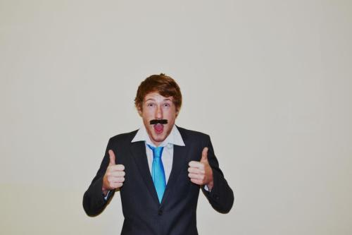 Boring Friday nights = me with a corny moustache and a suit.