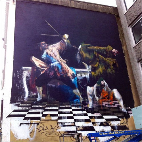 Conor Harrington 'The Duel Of Bristol' Artists from all over the world have descended upon Nelson Street and are once again transforming this previously grey Bristol street into one of the most exciting and unique urban landscape in the UK. They'll be working all week until a stellar line up of events at the weekend will celebrate the second See No Evil urban art project.