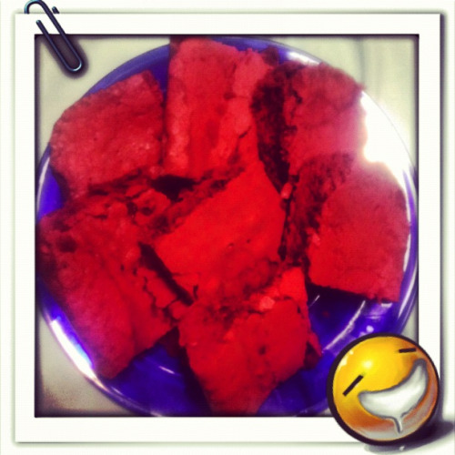 Red Velvet Brownies Ingredients: 1/2 cup butter, at room temperature 1 1/2 cups sugar 2 eggs 2 teaspoons vanilla extract 1 1/4 cups all purpose flour 1/4 teaspoon salt 3 tablespoons cocoa powder 2 tablespoons red food coloring  Directions: 1. Preheat oven to 350. 2. Butter and flour an 8 x 8 cake pan. 3. In a small bowl, combine cocoa powder, red food coloring, and 1 teaspoon vanilla to create a paste. 4. In the bowl of an electric mixer, cream butter and sugar until fluffy. Add eggs one at a time, then add remaining teaspoon of vanilla. With the mixer on medium speed, add in cocoa powder mixture. Beat until batter is completely red. (If at this time your batter is NOT red, you can add a little more food coloring if desired.Color will depend on brand.) Add flour and salt, mixing until just combined.  5. Spread in the 8 x 8 pan. Bake for 25-30 minutes, or until toothpick inserted in center comes out clean.