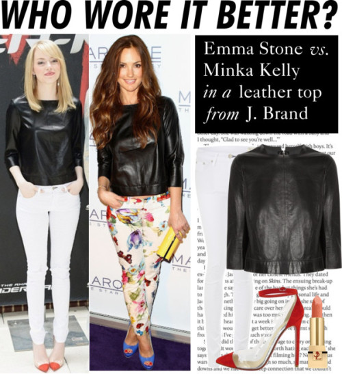 Who Wore It Better: Emma Stone or Minka Kelly by polyvore-editorial featuring skinny jeans ❤ liked on PolyvoreJ Brand leather shirt, $600 / rag & bone skinny jeans, $250 / Yves Saint Laurent  lipstick