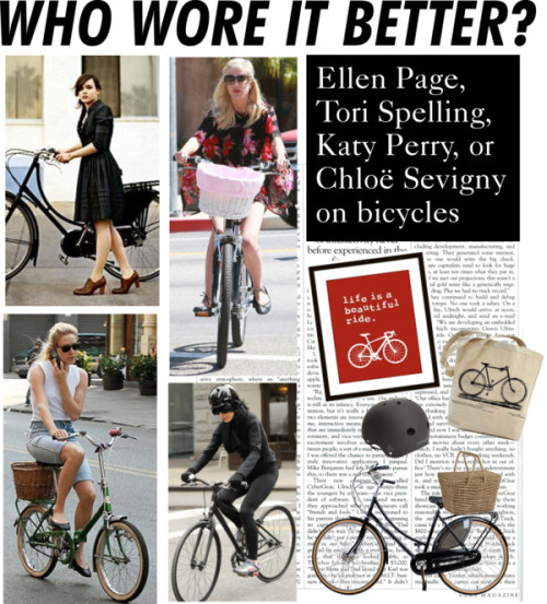 Who Wore It Better: Celebrities on Bikes by polyvore-editorial featuring canvas tote bags ❤ liked on PolyvoreCanvas tote bag / Ventana Natural Picnic Basket / Sector Nine Logic Cpsc Helmet