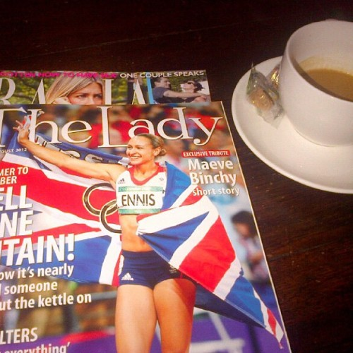 katespadeny:  coffee and british magazines before hopping back over the pond. see you soon new york. (Taken with Instagram)  the end of london 2012 = not only olympics withdrawal, but anglophile withdrawal.