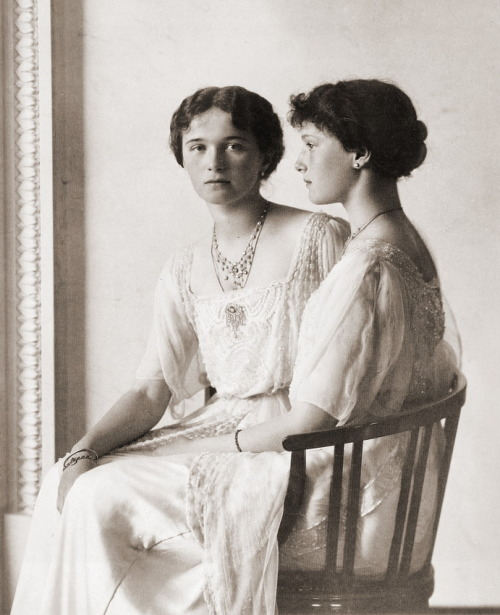 Olga & Tatiana Romanova, Russia 1913  (both murdered in 1918)  Photographer: Boissonnas & Eggler, St Petersburg Antique and Classic