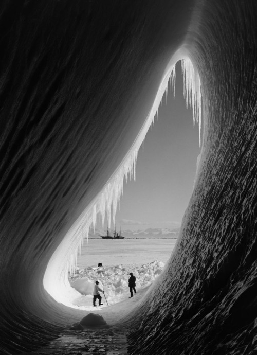 ckck:  Grotto in an iceberg, Antarctica. January 5th, 1911. Photograph by Herbert Ponting.
