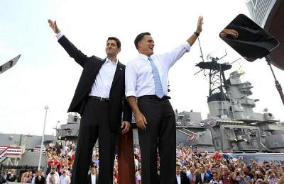 "Ryan & Romney form a human ""W"" for ""WHITE"" because, really, it's all about being white, white, white, whiter, whitest, WHITEST! I mean, how white can you get than these two horrible, insufferable nerds? Do they want to be President of WHITE AMERICA? Yes!!"