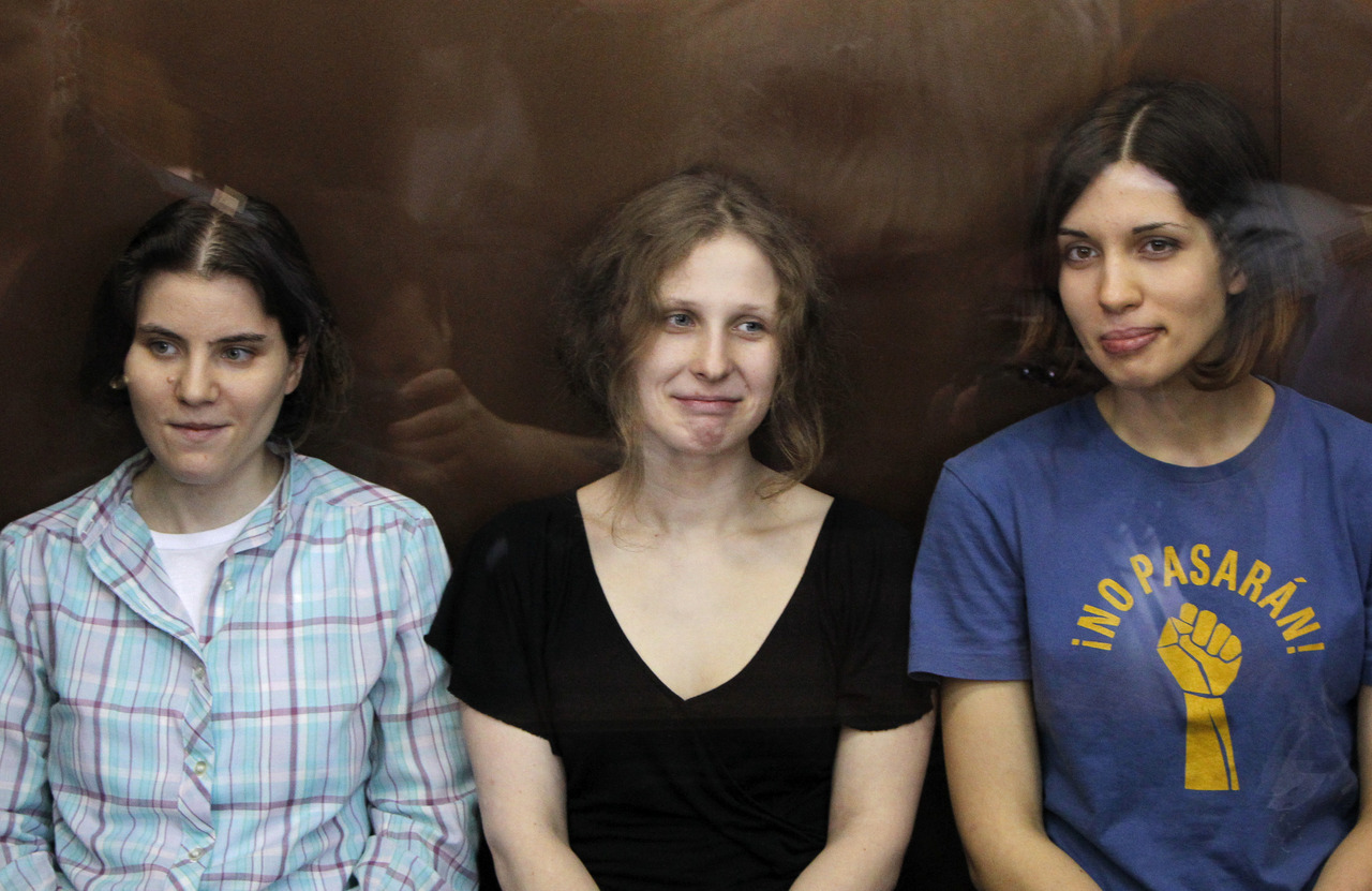 "A judge sentenced three members of Russian feminist punk band Pussy Riot to two years jail on Friday for staging a protest against President Vladimir Putin in a church, an act the judge called ""blasphemous."" Judge Marina Syrova found the women guilty of hooliganism motivated by religious hatred, describing them as blasphemers who had deliberately offended Russian Orthodox believers by storming the altar of Moscow's main cathedral in February to belt out a song deriding Putin. Nadezhda Tolokonnikova, 22, Marina Alyokhina, 24, and Yekaterina Samutsevich, 30, stood watching in handcuffs in a glass courtroom cage. The women say they were protesting against Putin's close ties with the church when they burst onto the altar in Moscow's golden domed Christ the Saviour Cathedral wearing bright ski masks, tights and short skirts. State prosecutors had requested a three-year jail term. ""Tolokonnikova, Samutsevich and Alyokhina committed an act of hooliganism, a gross violation of public order showing obvious disrespect for society,"" the judge said. ""The girls' actions were sacrilegious, blasphemous and broke the church's rules."" READ ON : Russian punk protesters sentenced to two years jail"