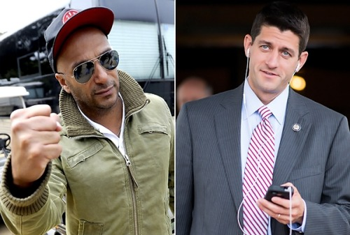 "motherjones:  arilevine:   Ryan claims that he likes Rage's sound, but not the lyrics. Well, I don't care for Paul Ryan's soundorhis lyrics. He can like whatever bands he wants, but his guiding vision of shifting revenue more radically to the one percent is antithetical to the message of Rage. I wonder what Ryan's favorite Rage song is? Is it the one where we condemn the genocide of Native Americans? The one lambasting American imperialism? Our cover of ""Fuck the Police""? Or is it the one where we call on the people to seize the means of production? So many excellent choices to jam out to at Young Republican meetings! Don't mistake me, I clearly see that Ryan has a whole lotta ""rage"" in him: A rage against women, a rage against immigrants, a rage against workers, a rage against gays, a rage against the poor, a rage against the environment. Basically the only thing he'snotraging against is the privileged elite he's groveling in front of for campaign contributions. Read more: http://www.rollingstone.com/music/news/tom-morello-paul-ryan-is-the-embodiment-of-the-machine-our-music-rages-against-20120816#ixzz23oWeSaO8  Tom Morello takes Paul Ryan to school for claiming Rage Against the Machine is his favorite band.  [makes mental note to not cross Tom Morello]"