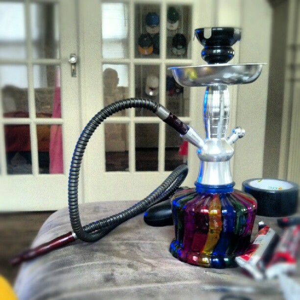 spaghetticunt:  @starsinmytummy and I's new #hookah. Sooooooo pretty. #rainbow #hookah #shisha #smoking #smoke (Taken with Instagram at Spaghetti Cunt's Box Of Dildos.)