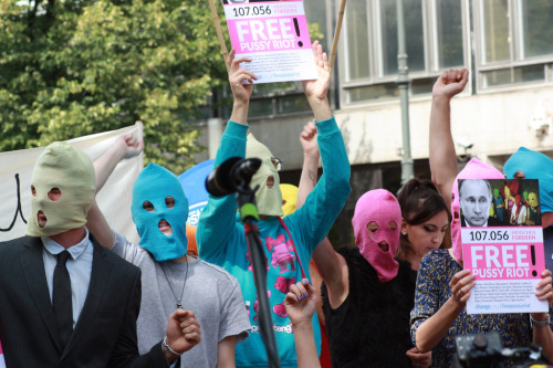 "kerensacadenas:  thenationmagazine:  ""We're all Pussy Riot now."" Across the globe, protesters respond to the guilty verdict in the Pussy Riot case.  This news is fucking infuriating."