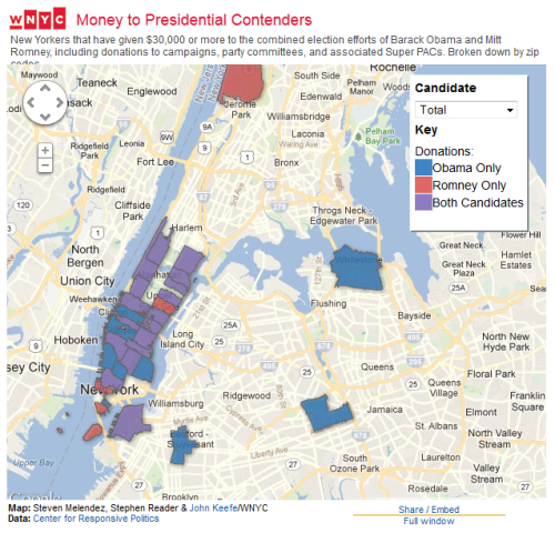 Interactive map of high-dollar NYC donors to Obama and Romney + Money Talking podcast: Why Has Wall Street Abandoned President Obama for Mitt Romney?