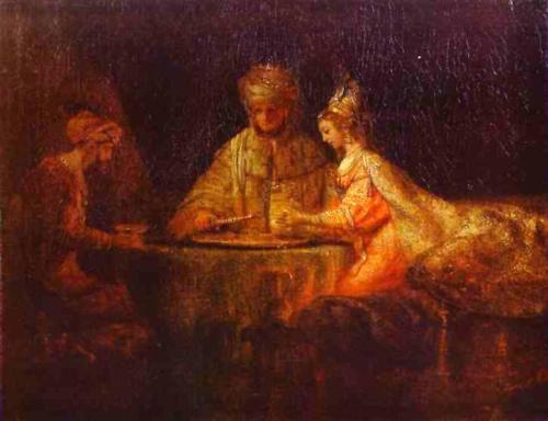 Ahasuerus and Haman at the Feast of Esther - Rembrandt