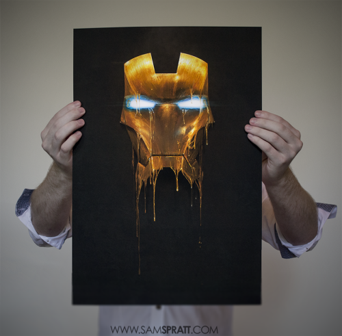 "samspratt:  GILDED BLACK EDITION PRINT GIVEAWAY AND PRINT SALE! This is the 1st signed print of my Iron Man piece, ""Gilded"" (Black Edition). I'd like to give it to one of you. Just reblog the image and I'll select a winner at random on Monday, then ship it out (worldwide) right after. Also, most of my prints will be 25%-50% off during that time. Sherlock, Gilded Loki, Ron Swanson, Inspector Spacetime, Kanye, Eaten, Expecto Patronum, Dwight Schrute, etc. that were $120 for XL prints are now $60, $100 for Large are now $50, $60 Mediums are now $40, and Smalls that were $40 are now $30 and so on. Prints: http://society6.com/SamSpratt"