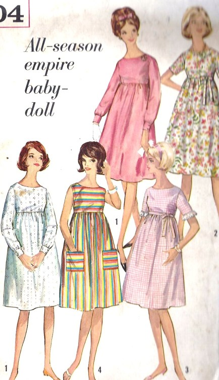 1964 Misses Empire Waist Baby Doll Dress Vintage Sewing Pattern Simplicity 5404