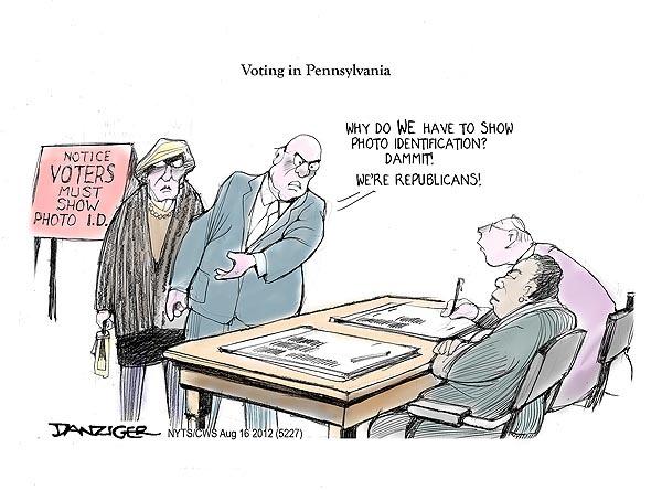 Jeff Danziger: Pennsylvania, voter suppression