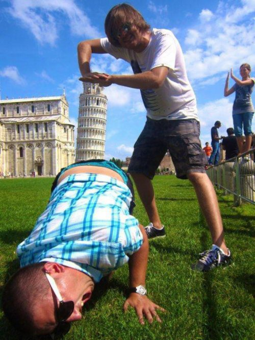 Leaning Tower of Pisa Shoved into Ass Also, one girl being boring in the background.