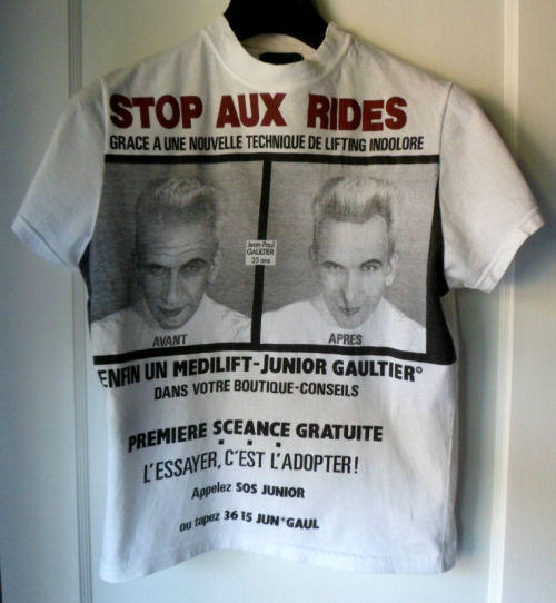 lacollectionneuse:  facelift slogan t-shirt • jean paul gaultier$80