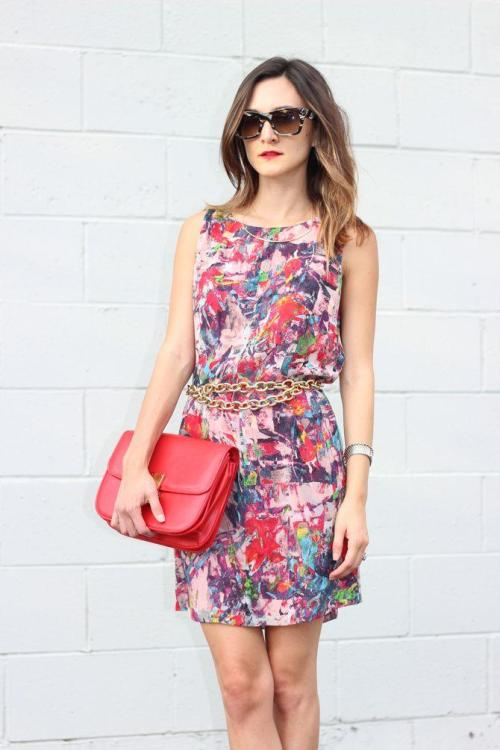 "Check out Nicole Levine (@FrankieFashion) in this ""splash printed number""! Get the dress here http://www.bbdakota.com/lala-dress/d/1436_cl_1794"