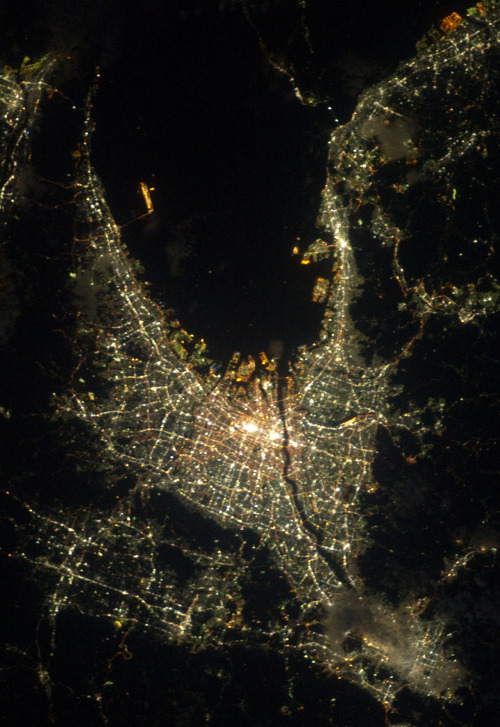 Osaka photographed from the International Space Station by Akihiko Hoshide
