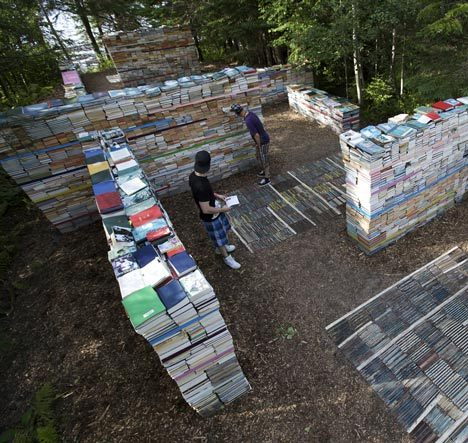 Venture Inside of Quebec's Garden of Decaying BooksBerlin landscape architect Thilo Folkerts and Canadian artist Rodney LaTourelle designed the Jardin de la Connaissance back in 2010 as an installation for the International Festival des Jardins de Metis in Quebec. As time passed, the some 40,000 books and wood plates making up the walls of their garden have decayed and dissolved, while new life has also found its way in to the space.