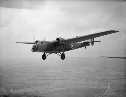 A Bristol Bombay in flight (first serving with the RAF followed by work with the RAAF's 1st Air Ambulance Unit)