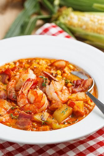 gastrogirl:  shrimp and roasted corn chowder.