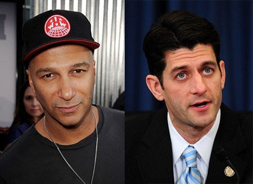 "thedailywhat:  Poor Lil Paul Ryan of the Day: GOP vice presidential pick Paul Ryan is a huge Rage Against the Machine fan. The feeling isn't exactly mutual, as a brutal op-ed in the latest Rolling Stone by Rage Against the Machine guitarist Tom Morello makes clear:  Paul Ryan's love of Rage Against the Machine is amusing, because he is the embodiment of the machine that our music has been raging against for two decades. … I wonder what Ryan's favorite Rage song is? Is it the one where we condemn the genocide of Native Americans? The one lambasting American imperialism? Our cover of ""F**k the Police""? Or is it the one where we call on the people to seize the means of production? So many excellent choices to jam out to at Young Republican meetings! Don't mistake me, I clearly see that Ryan has a whole lotta ""rage"" in him: A rage against women, a rage against immigrants, a rage against workers, a rage against gays, a rage against the poor, a rage against the environment. Basically the only thing he's not raging against is the privileged elite he's groveling in front of for campaign contributions. [rollingstone]"