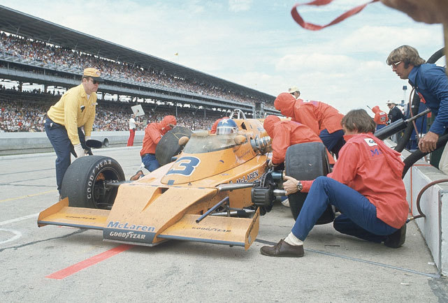 Johnny Rutherford makes pit stop during the 1974 Indianapolis 500. Rutherford, in his eleventh attempt, would wind up winning the race. (John G. Zimmerman/SI) GALLERY: The 100th Anniversary of the Indianapolis 500