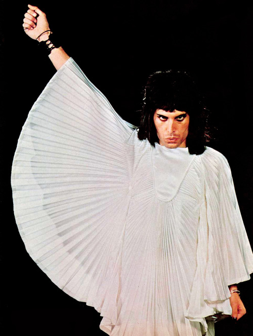 Freddie Mercury wearing an outfit by Zandra Rhodes. Photo by Mick Rock.