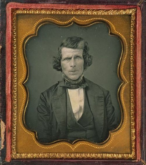 ca. 1840-60, [daguerreotype portrait of a gentleman with a curious expression and a neck beard] via Harvard University's Houghton Library, Department of Printing and Graphic Art, Harrison D. Horblit Collection of Early Photography