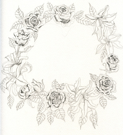 Floral border outline for a wedding present I'm working on, now to paint it… Click through for detail.
