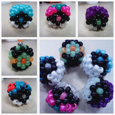 pokeballs~ Middle left is a dusk ball. I don't really like how it came out :/ Below that is a great ball(:  All but two are going out in trades. Still gotta make some more!