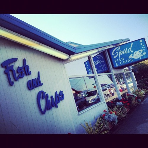 Spud's! #alki #fishnchips #seattle  (Taken with Instagram at Alki Beach)