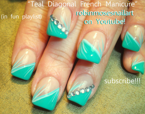Teal Diagonal French Manicure nail art 770…