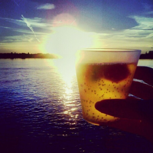 #sunset #antwerp with drink&strawberries (Taken with Instagram)