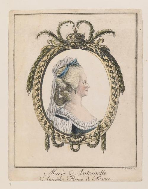 A hand-colored print of Marie Antoinette, circa 1775-1785 © Waddesdon Collection