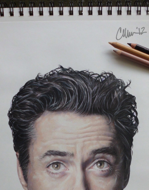 "thisdoesnotsuck:  ""How Much of Robert Downey Jr. Do You Have to Draw Before it's Recognizable as Robert Downey Jr.?"" Drawing Post-A-Drawing-Friday. Photo of (most of the) drawing. Prismacolor on Canson. Not all colours used, shown."